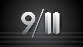 9/11 Art for September 11 USA - Patriot Day vector banner black. 9/11 Art for September 11 USA - Patriot Day vector banner, black and white illustration Stock Illustration