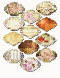 Art set of vintage frame lables isolated. On white Stock Photos