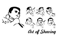 Art of Shaving. Blade Shaving Procedure pictures Stock Image