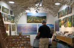 Art shop in the artists quarter, Safed, Israel stock photos
