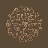Art shop circle template. Pottery workshop, ceramics classes banner illustration. Hand building, sculpturing equipment. Vector stock illustration
