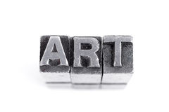 Art sign, antique metal letter type Royalty Free Stock Image