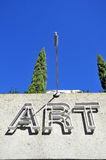 ART sign on a building with blue sky background. ART sign on a building in Vancouver with blue sky background Stock Photos