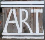 Art Sign rustico su legno Fotografie Stock Libere da Diritti
