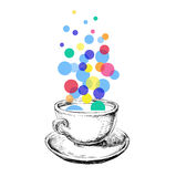 Art Sketch Coffee Cup Bubbles Hand Drawn Stock Photos