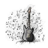 Art sketch of guitar design Stock Photos