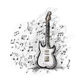 Art sketch of guitar design Royalty Free Stock Photos