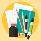 Art sketch with ink and markers flat icon Royalty Free Stock Photo