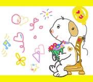 Art sketch of white doggie waiting for love vector illustration