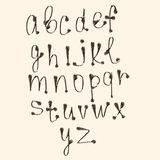 Art sketched stylized alphabet in vector, black Stock Image