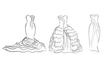 Art sketching of vector set bride dresses, sketchy Stock Photography