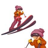 Art with skier girl on ski. Vector illustration Stock Images