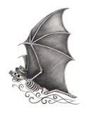 Art skull bat day of the dead. Royalty Free Stock Image