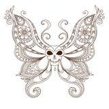 Art skull butterfly tattoo. Henna Mehendi Royalty Free Stock Image