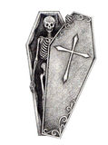 Art skull in the coffin. Stock Photo