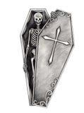 Art skull in the coffin. Stock Photo