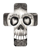 Art skull cross day of the dead. Royalty Free Stock Photography