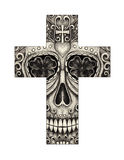 Art skull cross day of the dead. Royalty Free Stock Photos
