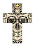 Art skull cross day of the dead. Stock Photos