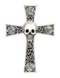 Art skull cross tattoo. Art design head skull mix cross for tattoo hand pencil drawing on paper royalty free stock photography
