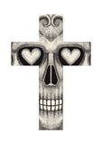 Art skull cross tattoo. Royalty Free Stock Image