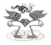 Art skull cupid angel. Royalty Free Stock Photos