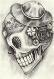 Art skull day of the dead. Royalty Free Stock Photos