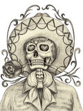 Art skull day of the dead. Royalty Free Stock Images