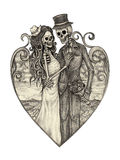 Art skull day of the dead. Art design skull wedding in love action smiley face day of the dead festival hand pencil drawing on paper Royalty Free Stock Photos