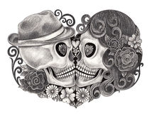Art skull day of the dead. Art design skull wedding love smiley face day of the dead festival. hand pencil drawing on paper