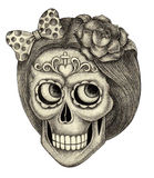Art skull day of the dead. Stock Photo