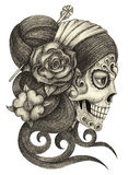 Art skull day of the dead. Art design women skull head smiley face day of the dead festival hand pencil drawing on paper Royalty Free Stock Photo