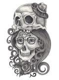 Art skull day of the dead. Stock Images