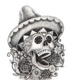 Art skull day of the dead festival. Royalty Free Stock Image