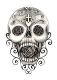 Art skull day of the dead festival. Art design head skull smiley face day of the dead festival hand pencil drawing on paper Stock Photography