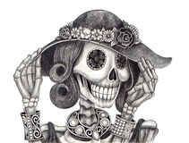 Art skull day of the dead festival. Royalty Free Stock Images