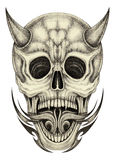 Art skull devil tattoo. Royalty Free Stock Images