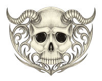 Art skull devil tattoo. Royalty Free Stock Photo