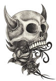 Art skull devil  tattoo. Stock Photos
