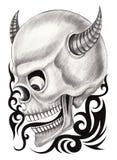 Art skull devil  tattoo. Royalty Free Stock Images