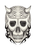 Art skull devil tattoo. Stock Images