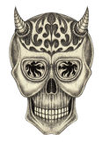 Art skull devil tattoo. Stock Photography