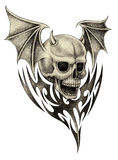 Art skull devil wings tattoo. Royalty Free Stock Images