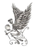 Art skull fairy angel tattoo. Stock Photography