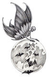 Art skull fairy Halloween tattoo. Royalty Free Stock Images
