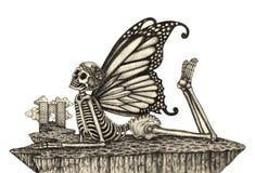 Art skull fairy surreal. Royalty Free Stock Photography