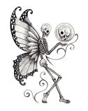 Art skull fairy tattoo. Stock Photos