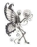 Art skull fairy tattoo. Stock Photos