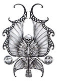 Art skull fairy tattoo. Royalty Free Stock Photo