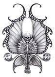 Art skull fairy tattoo. Royalty Free Stock Photo